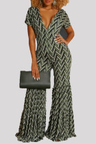 Green Fashion Casual Print Basic V Neck Regular Jumpsuits