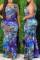 Deep Blue Fashion Casual Print Basic O Neck Vest Dress