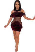 Wine Red Sexy Fashion Off The Shoulder Short Sleeves O neck Step Skirt Mini Sequin Mesh Patchwork backless ho