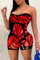 Red Fashion Sexy Print Backless Strapless Skinny Romper