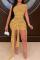 Yellow Sexy Solid See-through O Neck Irregular Dress Dresses