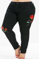 Black Fashion Casual Printed Plus Size Jeans