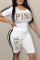 White Casual Print Letter O Neck Short Sleeve Two Pieces