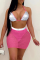 Pink Sexy Solid Sequins Mesh Halter Sleeveless Two Pieces