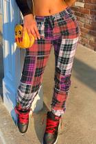 Purple Fashion Casual Regular Plaid Print Trousers