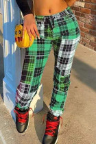 Green Fashion Casual Regular Plaid Print Trousers