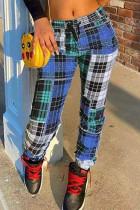 Blue Fashion Casual Regular Plaid Print Trousers