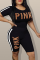Black Casual Print Letter O Neck Short Sleeve Two Pieces