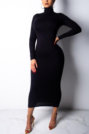 Black Fashion Sexy High Neck Long Sleeve Dress