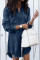 Dark Blue Fashion Cardigan Tassel Denim Dress