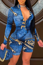 Blue Sexy Print Split Joint Mandarin Collar Skinny Jumpsuits