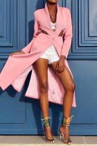 Pink Mandarin Collar Zippered Patchwork HOLLOWED OUT Slim fit Solid Polyester Pure Long Sleeve  Coats & C