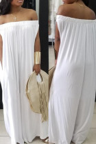 White Fashion Casual Solid Backless Off the Shoulder Loose Jumpsuits