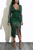 Dark green Fashion Sexy Long Sleeve Dress