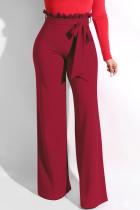 Wine Red Trendy Ruffle Design Loose Knitting Pants