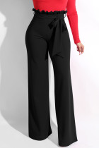 Black Trendy Ruffle Design Loose Knitting Pants