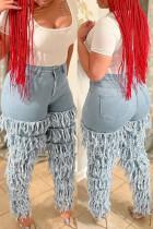 Light Blue Fashion Casual Solid Tassel Mid Waist Regular Jeans