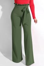 Army Green Trendy Ruffle Design Loose Knitting Pants