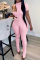 Pink Sexy Solid Split Joint Half A Turtleneck Short Sleeve Three Pieces