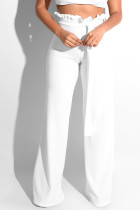 White Trendy Ruffle Design Loose Knitting Pants