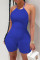 Dark Blue Sexy Casual Solid Backless Halter Skinny Romper
