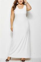 White Minimalist Plus Size Knit Round Neck Sleeveless Dress