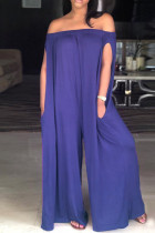 Purple Fashion Casual Solid Backless Off the Shoulder Loose Jumpsuits