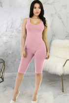 Pink Casual Patchwork Solid Milk. Sleeveless V Neck Rompers