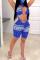 Blue Sexy V Neck Sleeveless Tank Skinny Print Jumpsuits