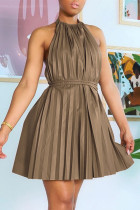 Brown Sexy Casual Solid Backless Halter Pleated Dresses