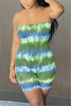 Green Sexy Fashion Tie-dye Printed Strapless Romper