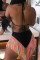 Black Euramerican Patchwork Tassel Fringed Milk Fiber Two-piece Swimwear