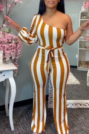 Yellow Sexy Casual Striped Print Backless One Shoulder Regular Jumpsuits
