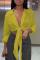 Yellow Casual Solid Bandage Turndown Collar Tops