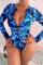 Blue Sexy Print Split Joint Swimwears