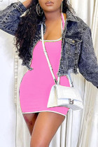 Pink Sexy Casual Solid Backless U Neck Sleeveless Dress (Without Jacket)