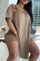 Khaki Fashion Casual Solid Slit V Neck Short Sleeve Two Pieces