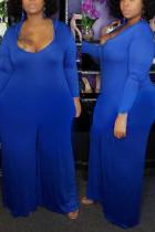 Blue Fashion V-Neck Hooded Large Size Jumpsuit