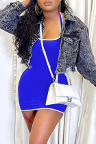 Blue Sexy Casual Solid Backless U Neck Sleeveless Dress (Without Jacket)