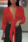 Red Casual Solid Bandage Turndown Collar Tops