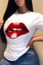 White Fashion Casual Lips Printed Basic O Neck T-Shirts