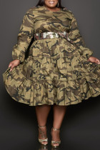 Camouflage Fashion Casual Camouflage Print Without Belt O Neck Long Sleeve Plus Size Dresses