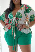 Green Fashion Casual Print Strap Design V Neck Plus Size Two Pieces