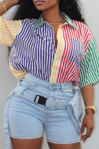 Colour Fashion Casual Striped Print Split Joint Turndown Collar Tops