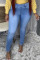 Baby Blue Fashion Casual Solid Basic Mid Waist Skinny Jeans