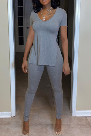 Grey Fashion Casual Solid Slit O Neck Long Sleeve Two Pieces