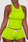 Fluorescent Green Sexy Solid Backless O Neck Sleeveless Two Pieces