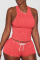 Fluorescent Red Sexy Solid Backless O Neck Sleeveless Two Pieces