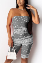Grey Sexy Fashion Printing Strapless Romper