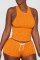 Orange Sexy Solid Backless O Neck Sleeveless Two Pieces